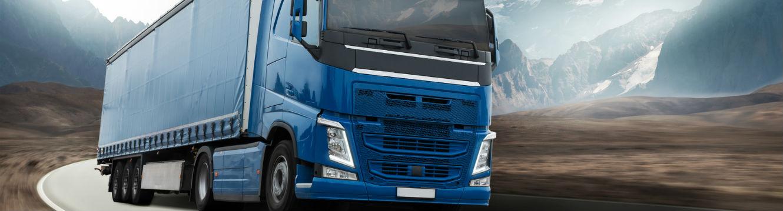 un camion de transport de marchandises bleu